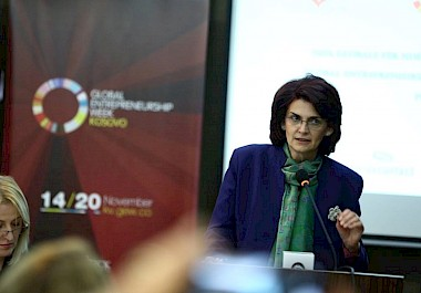 Iliriana Gashi, WfWI Country Director presented in the Global Entrepreneurship Week in Kosovo