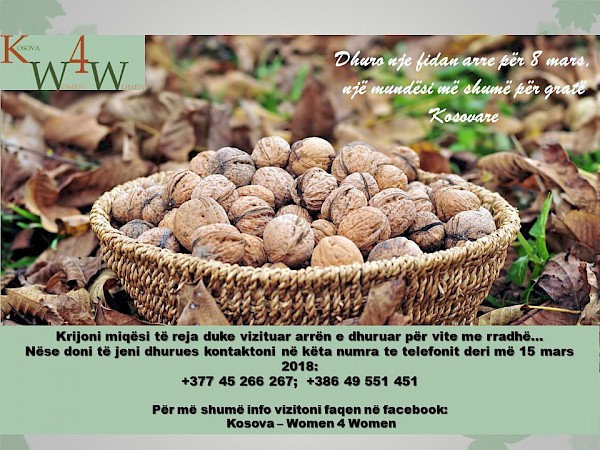 Donate a walnut tree for March 8, an opportunity more for Kosovar women.