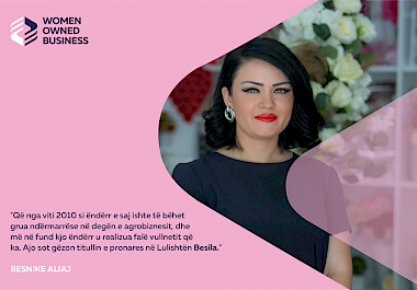 "Msc. Besnike (Bafti) Aliaj is the beneficiary of the Start-UP grant through the project ""Women's Opportunities in the Market, Economy and Networking"" WOMEN"