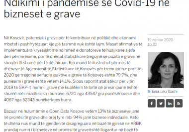 Iliriana Gashi: The impact of the Covid-19 pandemic on women's businesses